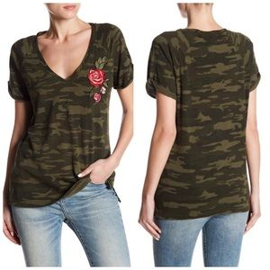 Anthropologie Camo Print Embroidered Tee